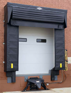 Loading dock shelter serves liftgate trailers and trailer doors that open inside the building.