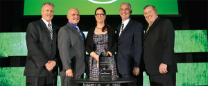Backyard Farms team members at 2014 Award ceremony, from left to right: Arie van der Giessen, head grower; Mark Queenan, director of quality assurance and food safety; Missy Blackwell, food safety and quality coordinator; Tim Cunniff, executive VP of sales; and Paul Mucci, COO and president.