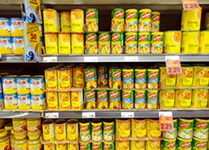 """TORONTO, CANADA - JANUARY 31, 2014: Canned fruit cans in a supermarket in Toronto, Canada.; Shutterstock ID 176919923"""