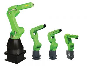 FANUC's line of collaborative robots are equipped with highly-sensitive contact detection allowing them to share workstations with people. Credit: FANUC