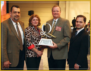 The 9th Annual Food Quality Award was presented to Michigan Turkey Producers at the recent Food Safety Summit. Shown left to right after the award ceremony are Marcos Cantharino, global sales and marketing director at DuPont Qualicon, the award's sponsor; Tina Conklin, Michigan Turkey Producer's corporate quality assurance manager; Dan Lennon, the company's president and CEO; and Luis Fischmann, global marketing manager at DuPont Qualicon.