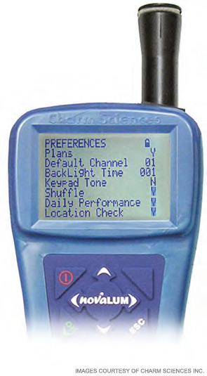 The novaLUM, a palm-sized luminometer that works with ATP-based tests, shown displaying test results.