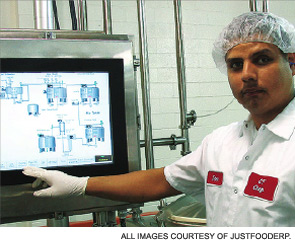 Technology allows employees at the CF Chefs plant in Dallas to track real-time data.