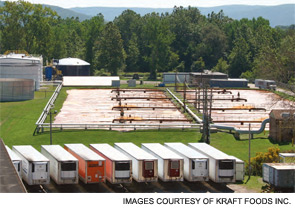 Kraft Foods' waste-to-energy anaerobic digester at its Campbell, N.Y., cheese plant. Kraft recycles nearly 90% of its global manufacturing waste by turning it into energy and finding other companies that can use the waste.