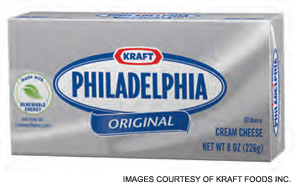The Kraft Philadelphia Cream Cheese label shows it is made with renewable energy, which is becoming an important part of consumers' purchasing decisions.