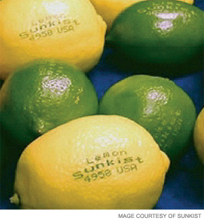 Laser etching has been demonstrated as safe for labeling citrus fruit.