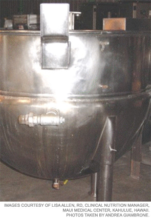 Stainless steel kettles can be cleaned with powder or foam cleansers.