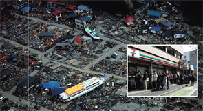 A ferry rests amid destroyed houses in Miyako in Iwate, the second-largest prefecture in Japan, after the 9.0 earthquake and subsequent tsunami that struck March 11. Inset: Tsunami victims line up for provisions at a 7-Eleven in Sendai in Miyagi Prefecture.