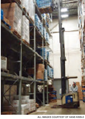 A Hans Kissle storage area. Employees are trained in FIFO and allergen-control programs.