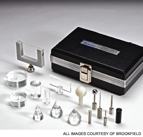 Texture probe kit: Cones, cylinders, punches, balls, blade, wire.