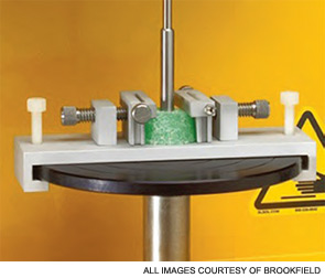 Adjustable vice fixture for holding small samples for puncture test.