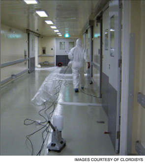 Laboratory being prepared for gas decontamination.